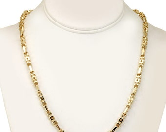Handmade Link Necklace, 14K Yellow Gold Ladies Necklace,Link Necklace