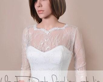 Plus Size Wedding cover up/ lace bolero solstiss Lace/ wedding jacket/ shrug lace top deep-v in back