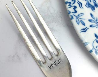 Vegan vintage hand stamped fork - vegan cutlery - personalised word cutlery - vegan gift
