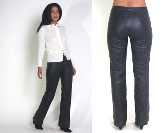 Vintage 90s Black Leather Flared Hip Hugger Pants Jeans Moto Biker