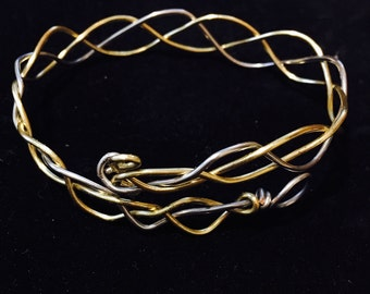 Braided wire bracelet, silver, gold.