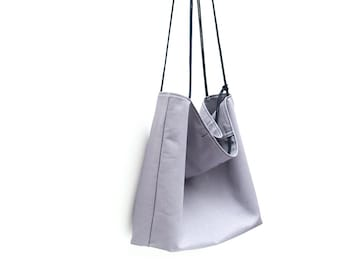 Large tote for man, mens large tote, grey tote, pure cotton tote, artisan tote bag, made in Italy tote, gift for him, boyfriend gift.