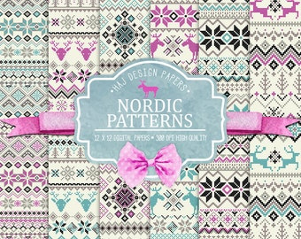 """Christmas digital paper : """" Nordic Patterns """", winter digital paper, nordic backgrounds, fair isle patterns, christmas knit sweater"""