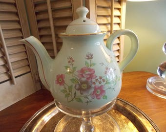 VINTAGE TEAPOT,  Floral Cottage Chic Teapot, China Serving Teapot