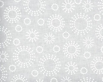 White on white fabric by the yard - tone on tone fabric - white swirl fabric - white circle fabric #17001
