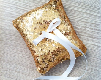 Wedding ring pillow - Wedding ring bearer - Ring pillow bearer - golden sequins  ring pillow -  ring pillow