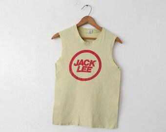 SMALL 70s/80s Jack Lee Hanes Soft 100% Cotton Sleeveless Tank Top