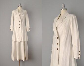 1800s Suit // Victorian Ivory Linen Tailored Walking Suit // S