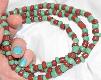 Orunmila Ifa Initiation Bead Set Large Ileke Ide Necklace Two Bracelets Green and Brown Glass Yoruba Beads