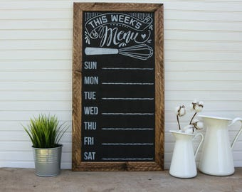 Weekly Menu Plan, Framed, Weekly Menu, Chalkboard