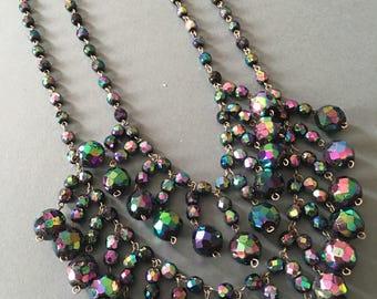 Vintage Aurora Borealis Faceted Bead Necklace Multi Strand Bib Pendant