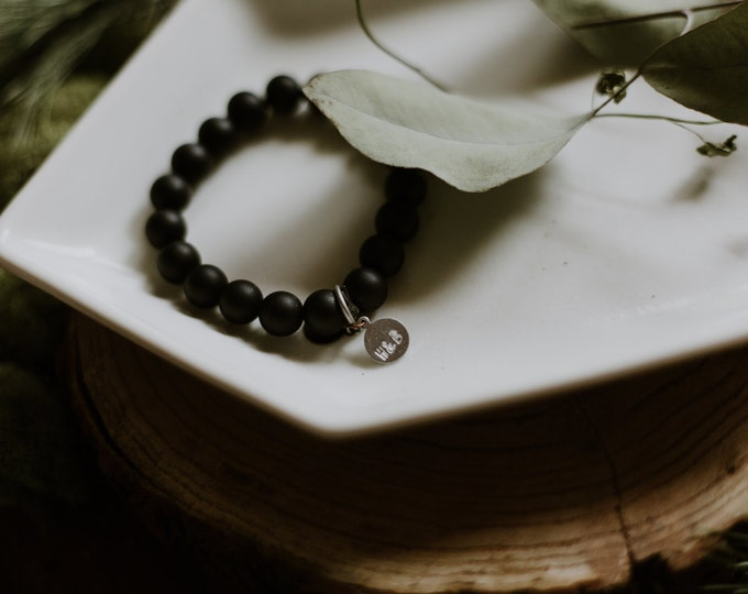 Black Agate Stacking Bracelets / Basic Stacking Bracelets / Agate Stone Bracelets / Simple Beaded Bracelet / Modern Stacking Bracelet