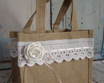 Rustic Flower Girl Basket, Burlap and Lace Flower girl Basket, Burlap and Lace Flower Girl Bag, Rustic burlap and Lace Flower Girl Bag