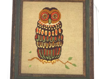 Owl Needlepoint in Vintage Hand Painted and Distressed Wood Picture Frame 1970s