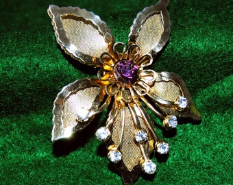 Vintage 1940's Gold Tone Orchid Brooch