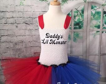 Harley Quinn tutu, Harley Quinn dress, Harley Quinn costume, Harley Quinn comic con, Harley Quinn tutu dress, red and blue tutu