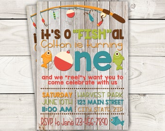 """Fish Themed Invite with Wood Background-Fishing Birthday Invite-o""""FISH""""ally One Birthday Invite-Digital File"""