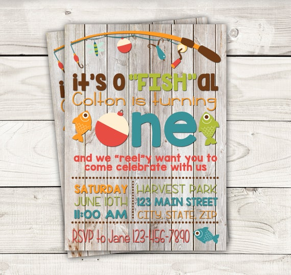 Fish Themed Invite With Wood Background-Fishing Birthday