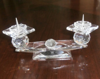 Swarovski  Crystal Candle Holder 7600 112 000 Pin Style for Two Candles (D)