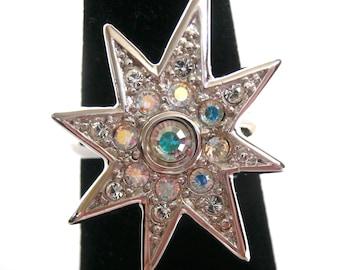 Signed Christian Dior Ring w/ Aurora Borealis Swarovski Crystal size 5