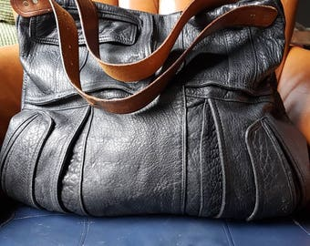 Soft Thick Nubby Black Leather Shoulder Bag of Upcycled Sweetness!