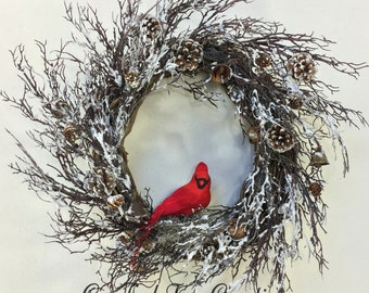 Christmas Wreath, Cardinal Wreath, Holiday Wreath, Woodland Wreath, Cardinal, Winter Wreath, Rustic Wreath, Christmas Wreaths, Bell Wreath