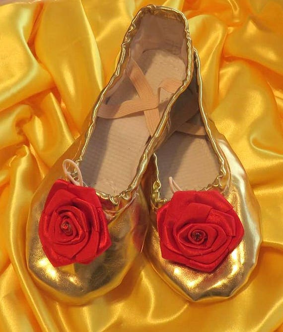 Beauty and the Beast Princess ballet slippers gold red rose shoes
