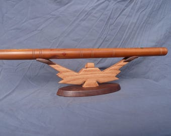 """Solid Oak and Walnut """"Thunderbird""""  flute stand holds 1 native american flutes transverse"""