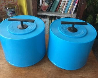 Pair of Hartzell Tote 45 Cases - carrying cases for 45 rpm records - blue plastic - sold together as a pair - great used condition