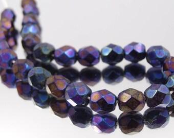Czech Glass 6mm Fire Polish Blue Iris  50 Pieces