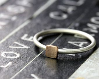 925 Silver ring with square 4 mm from 333 (8 k) rose gold stack ring, filled, additional ring