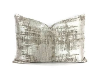 """13.5"""" x 20"""" Casamance Marbre in the color Argent Lumbar Pillow Cover"""
