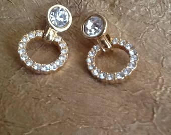 SWAN Signed SWAROVSKI Rhinestone Clip Earrings