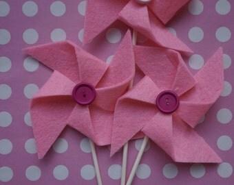 Pinwheel of felt for birthdays, holidays, baptisms
