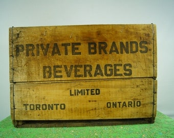 Vintage WOODEN SODA CRATE - Pop Crate - Toronto - Private Brands Beverages Limited - Toronto Wood Crate