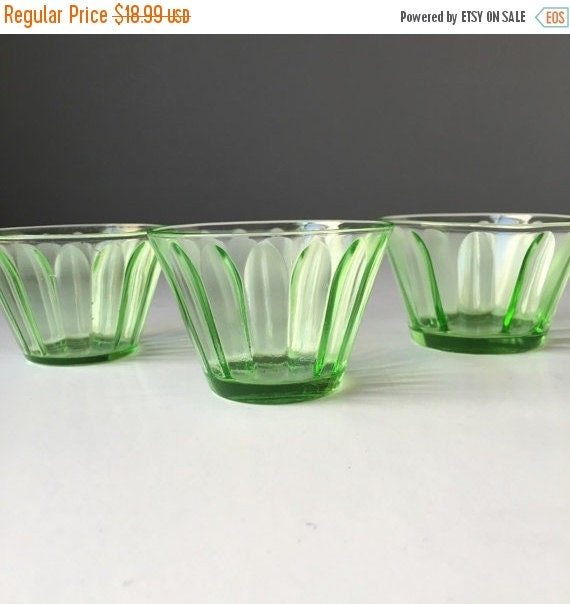 ON SALE Hazel Atlas Green Depression Glass Custard or Sorbet Dessert Cups, Set of THREE, Vintage Uranium or Black Light Fluorescent Glass