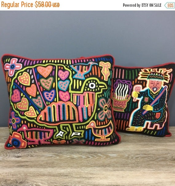 ON SALE Mola Pillows, Kuna Indian Folk Art Textile Art decorative Pillows, Set of TWO, Bird and People Designs, Panama Tribal Art