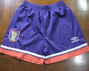 """Vintage AUTHENTIC Umbro Scotland Vinatge 90s 1993 Soccer Shorts Football Jersey Purple National Teams World Cup 32"""" Made In England"""