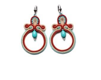 Summer soutache earrings ! Turquoise, beige and coral, orecchini soutache, boucles d'oreilles soutache