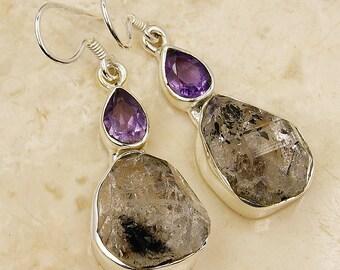Rare Herkimer Diamond Earrings Amethyst & .925 Sterling Silver Dangle Earrings AE802 The Silver Plaza