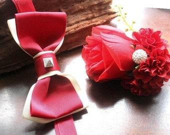 bow tie with matching boutonniere in red