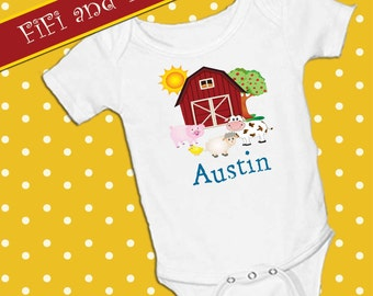 Personalized Farm Animals, White onsie , Snap bottom all in one bodysuit, cow, pig, sheep, chick, barn, apple tree, barn animals