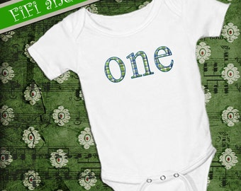 First Birthday Outfit, Boy , smash cake outfit, baby onsie green blue plaid with blue outline, boy birthday