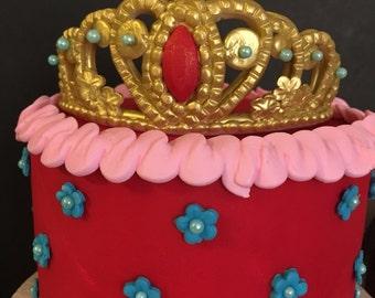 Princess Gold tiara cake topper. Elena of Avalor inspired. Elena of avalor party Topper.