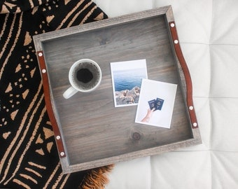 Driftwood + Leather Square Breakfast Tray: handmade, solid wood, driftwood grey finish, newlywed home decor gift