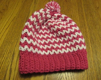Crochet hat Hot Pink and White