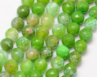 Green Crab Fire Agate Faceted Gemstone - 6MM