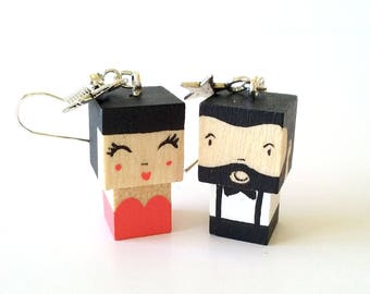 """Earrings Wooden Dolls """"Couple"""" - Hand-made"""