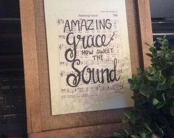 Amazing Grace   Hand Painted Sign   hymn
