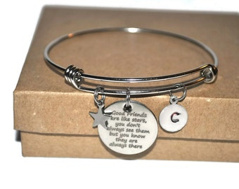 Friendship bracelet, initial, good friends are like stars stainless steel expandable bracelet